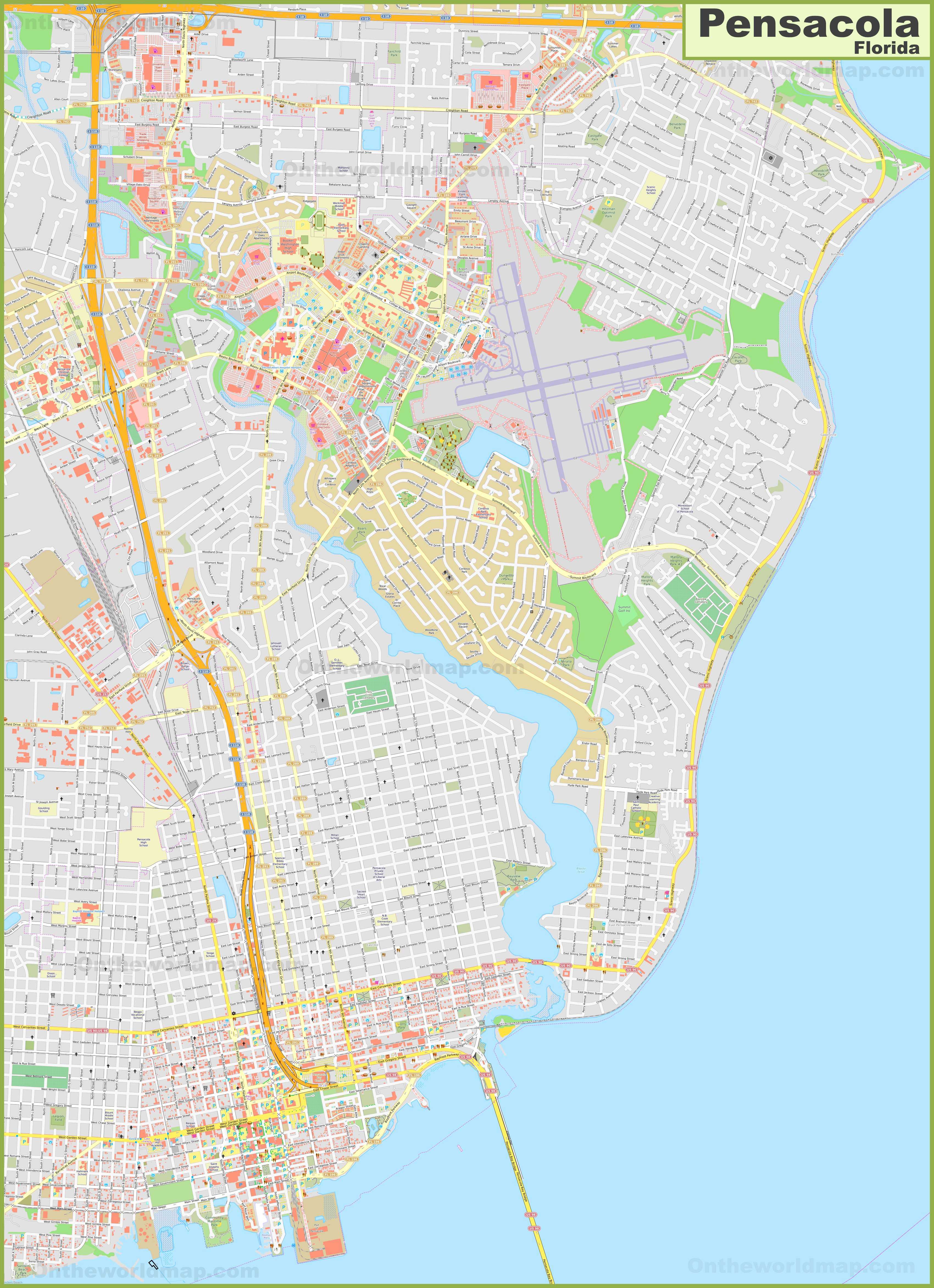Large detailed map of Pensacola on
