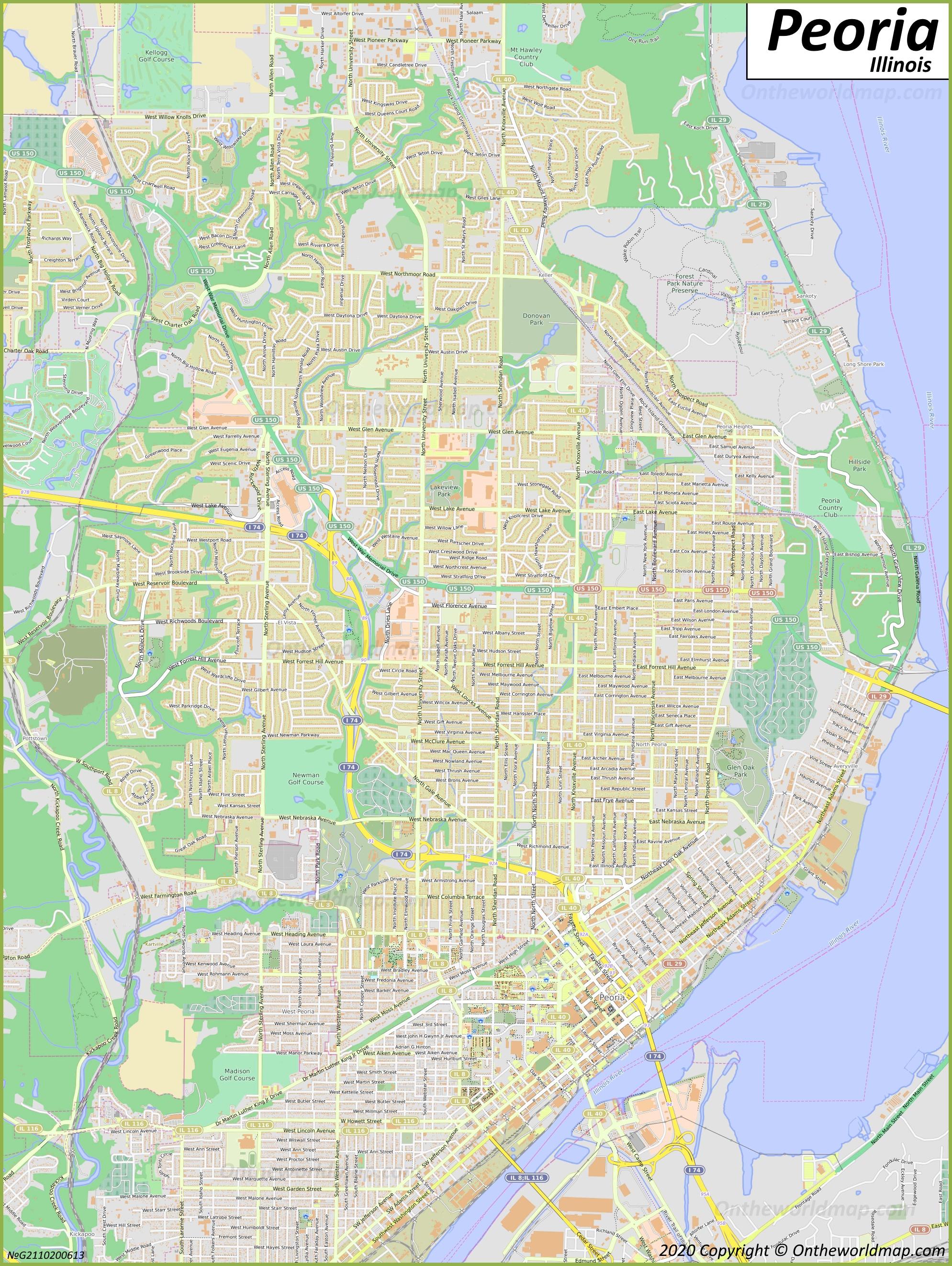 Image of: Peoria Map Illinois U S Maps Of Peoria
