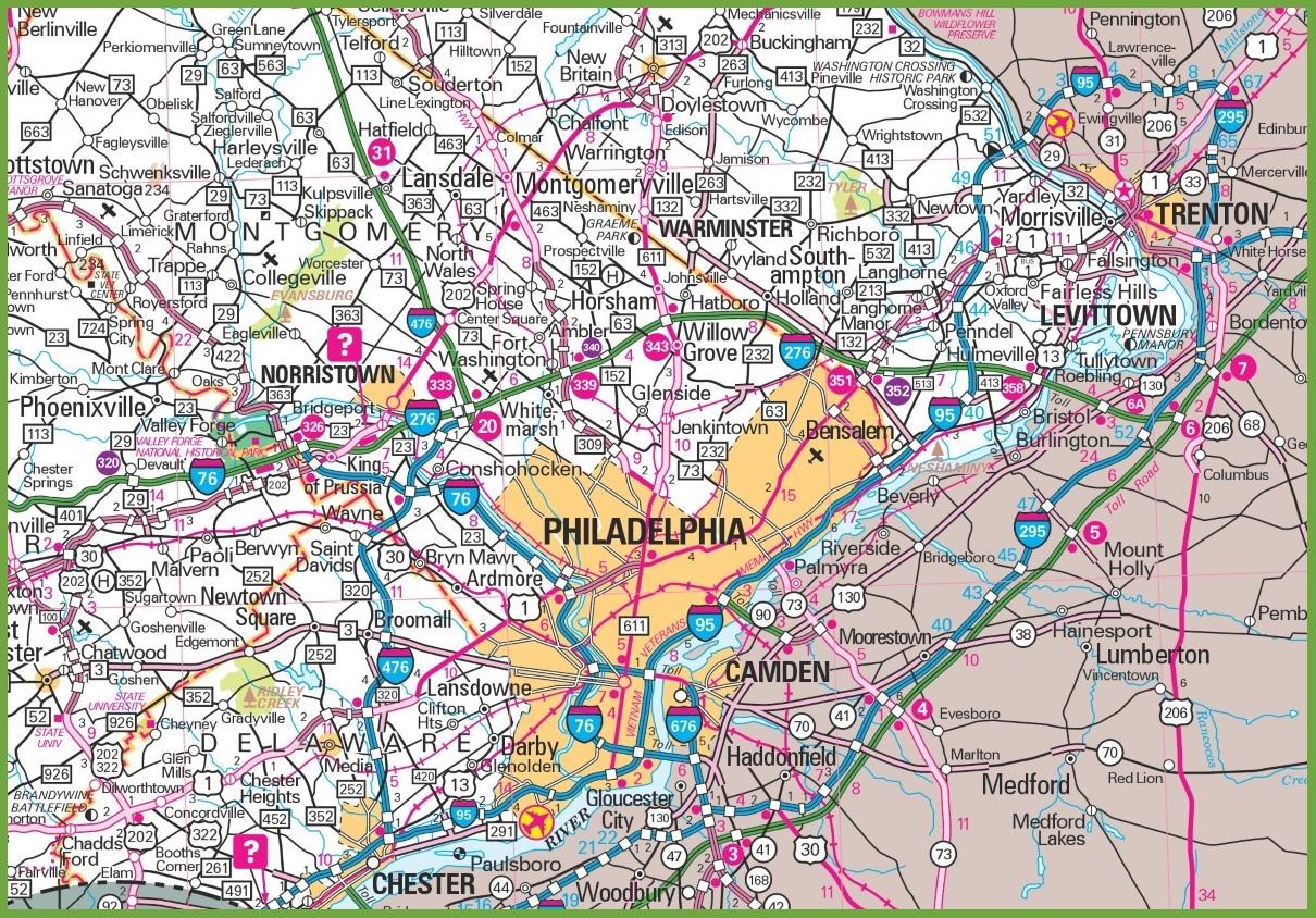 Map Of Philadelphia Philadelphia area map Map Of Philadelphia
