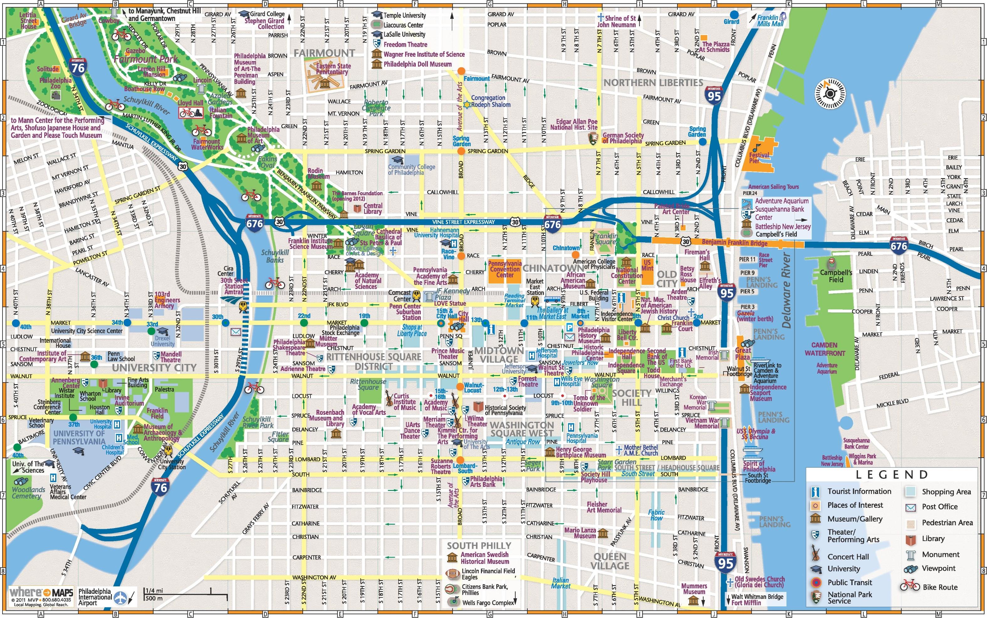 Map Of Philadelphia Philadelphia downtown map Map Of Philadelphia
