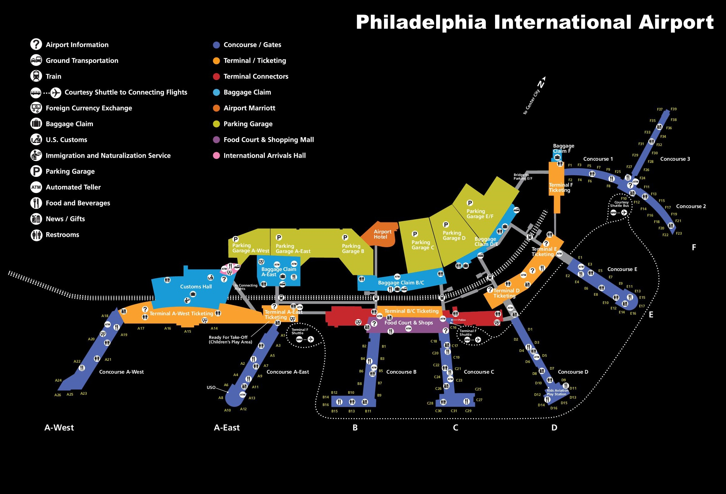 Philadelphia Airport Map Philadelphia International Airport map Philadelphia Airport Map