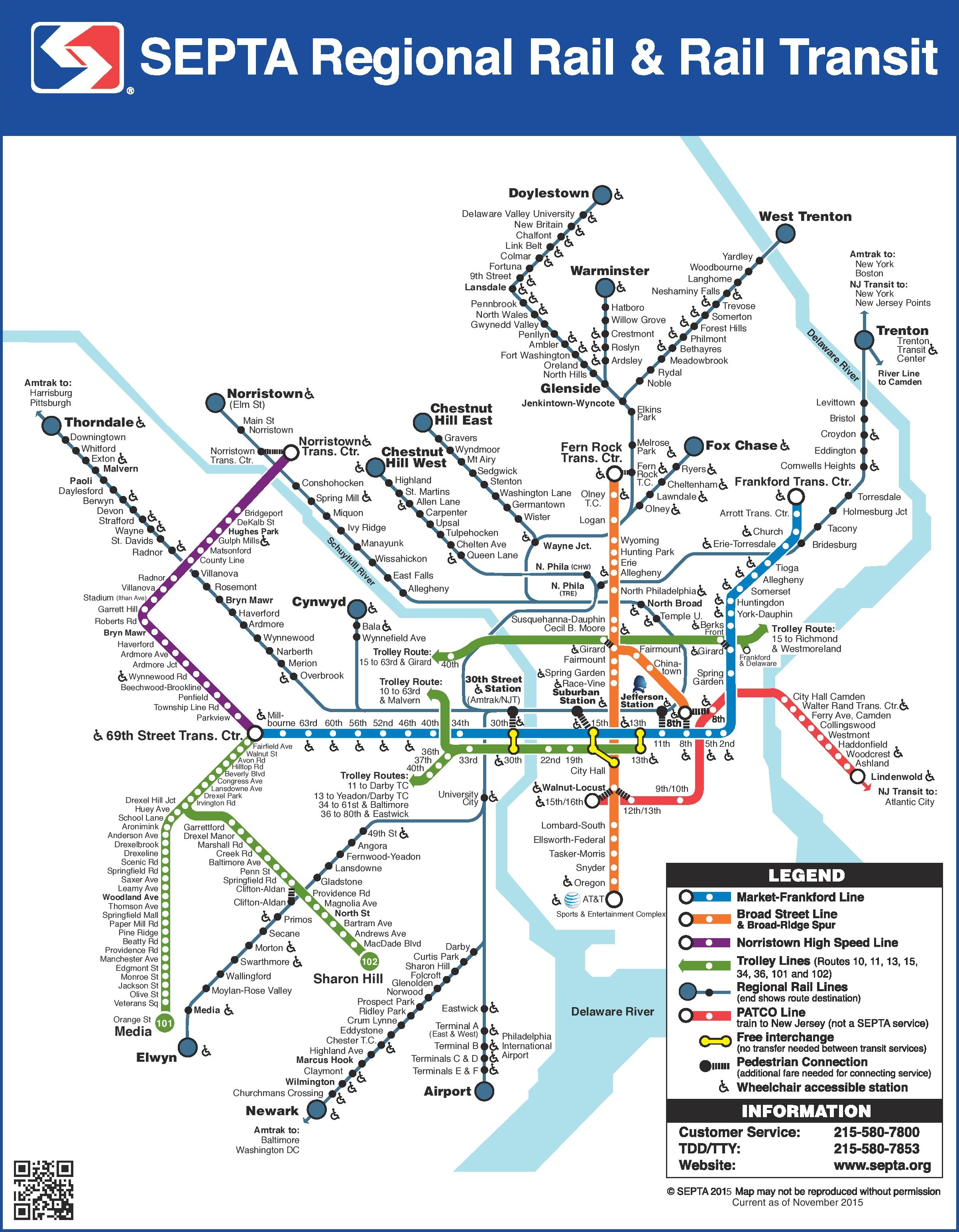 Philadelphia Train Map Philadelphia SEPTA train map