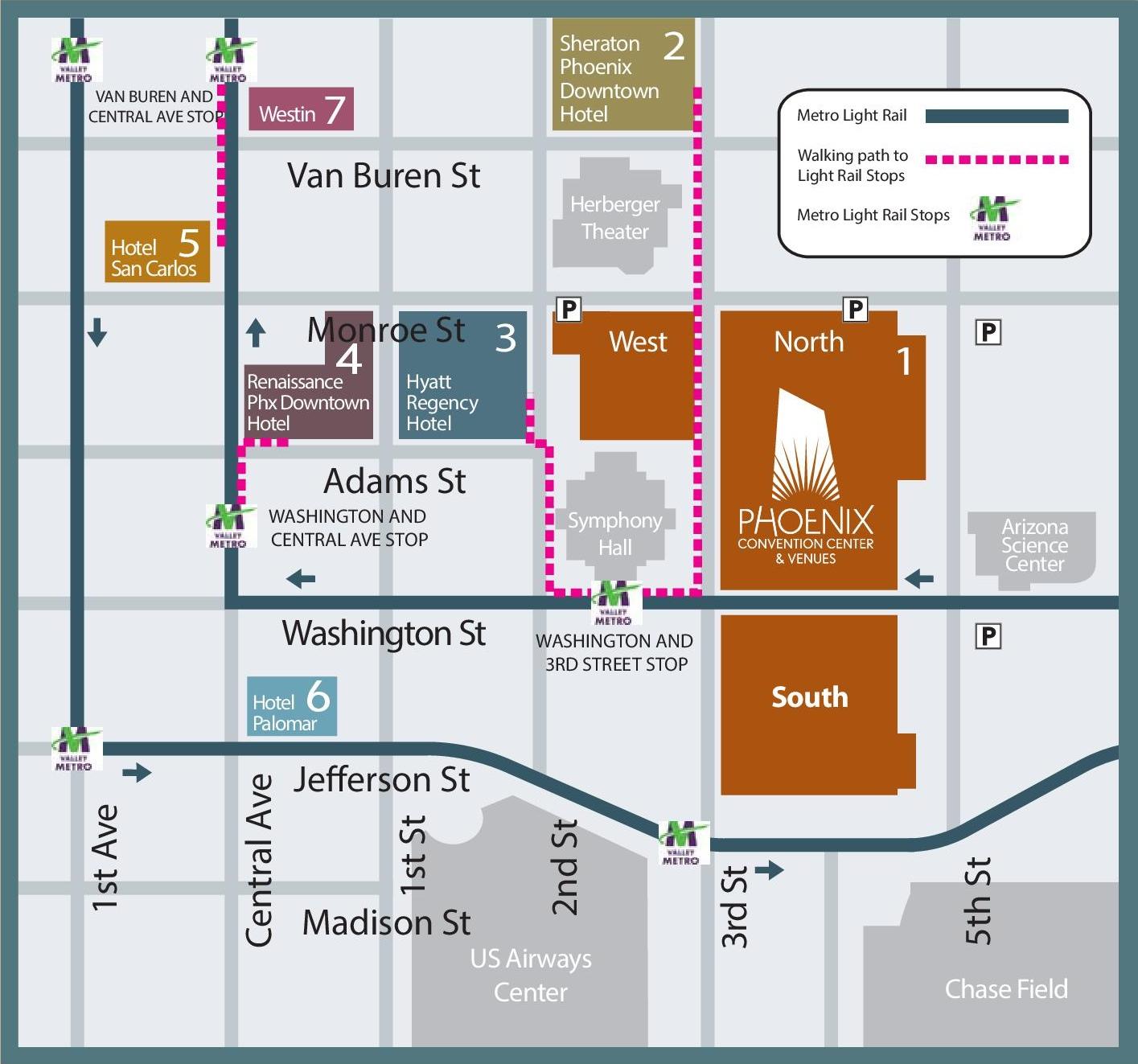 Map Of Downtown Phoenix Downtown Phoenix hotel map Map Of Downtown Phoenix