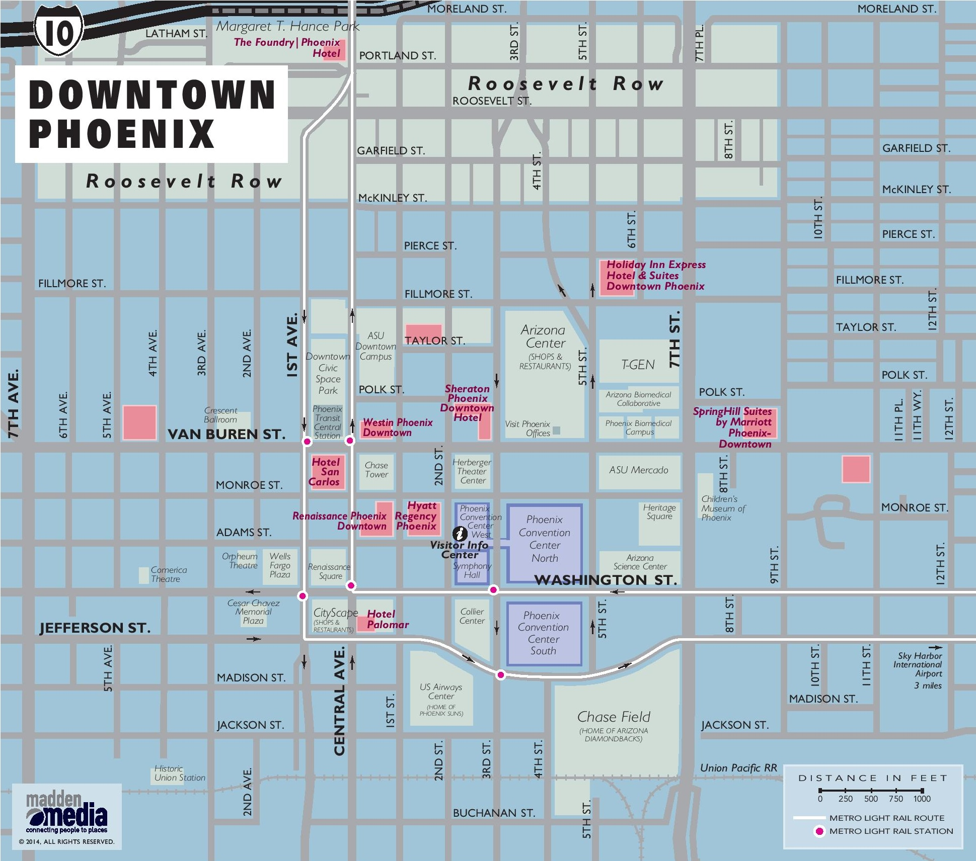 A Map Of Phoenix Arizona.Downtown Phoenix Map