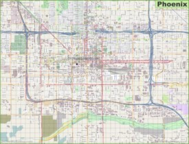 Large detailed street map of Phoenix