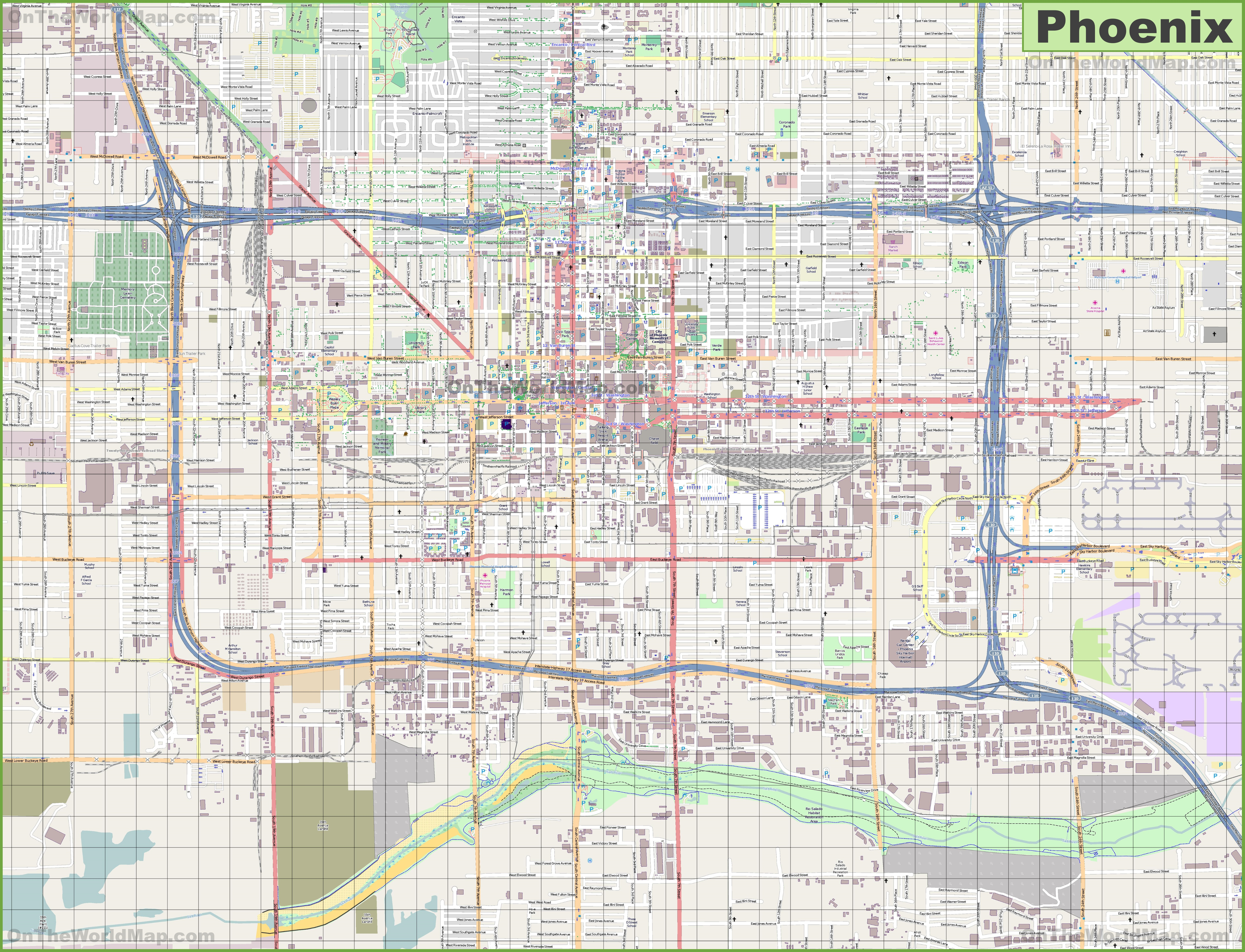 Map Of Phoenix Large detailed street map of Phoenix Map Of Phoenix