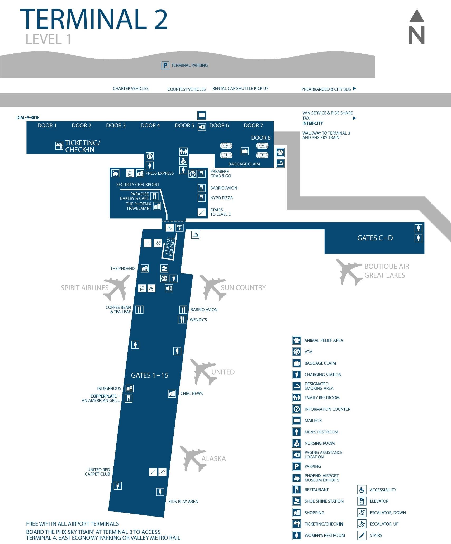 Phx Airport Terminal Map Phoenix airport terminal 2 map