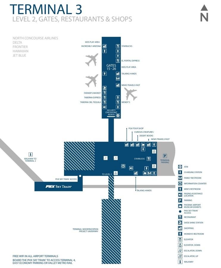 Phoenix Airport Terminal 3 Map