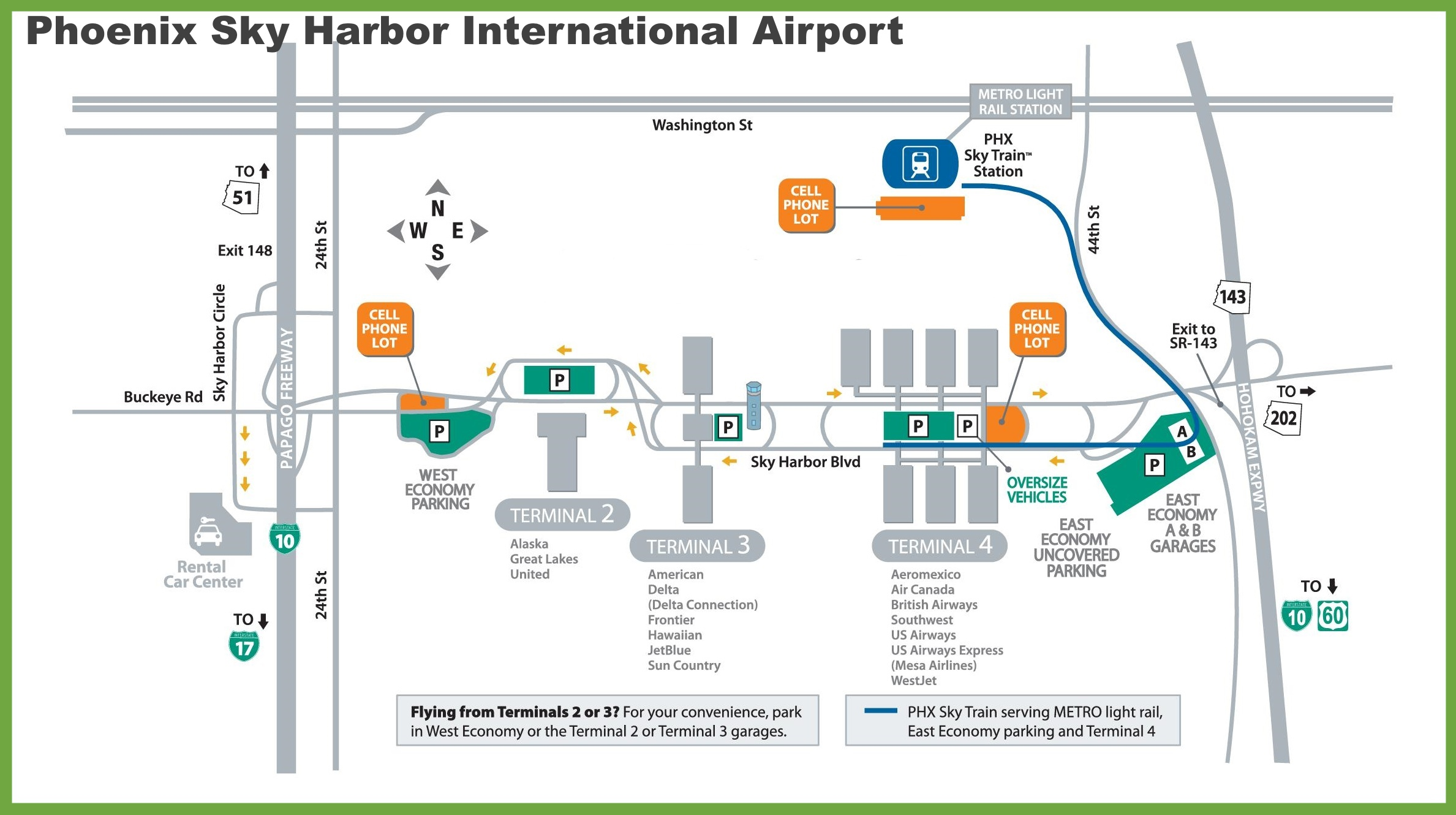 Phoenix Sky Harbor Map Phoenix Sky Harbor International Airport map