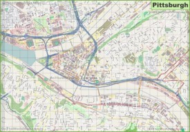 Large detailed map of Pittsburgh
