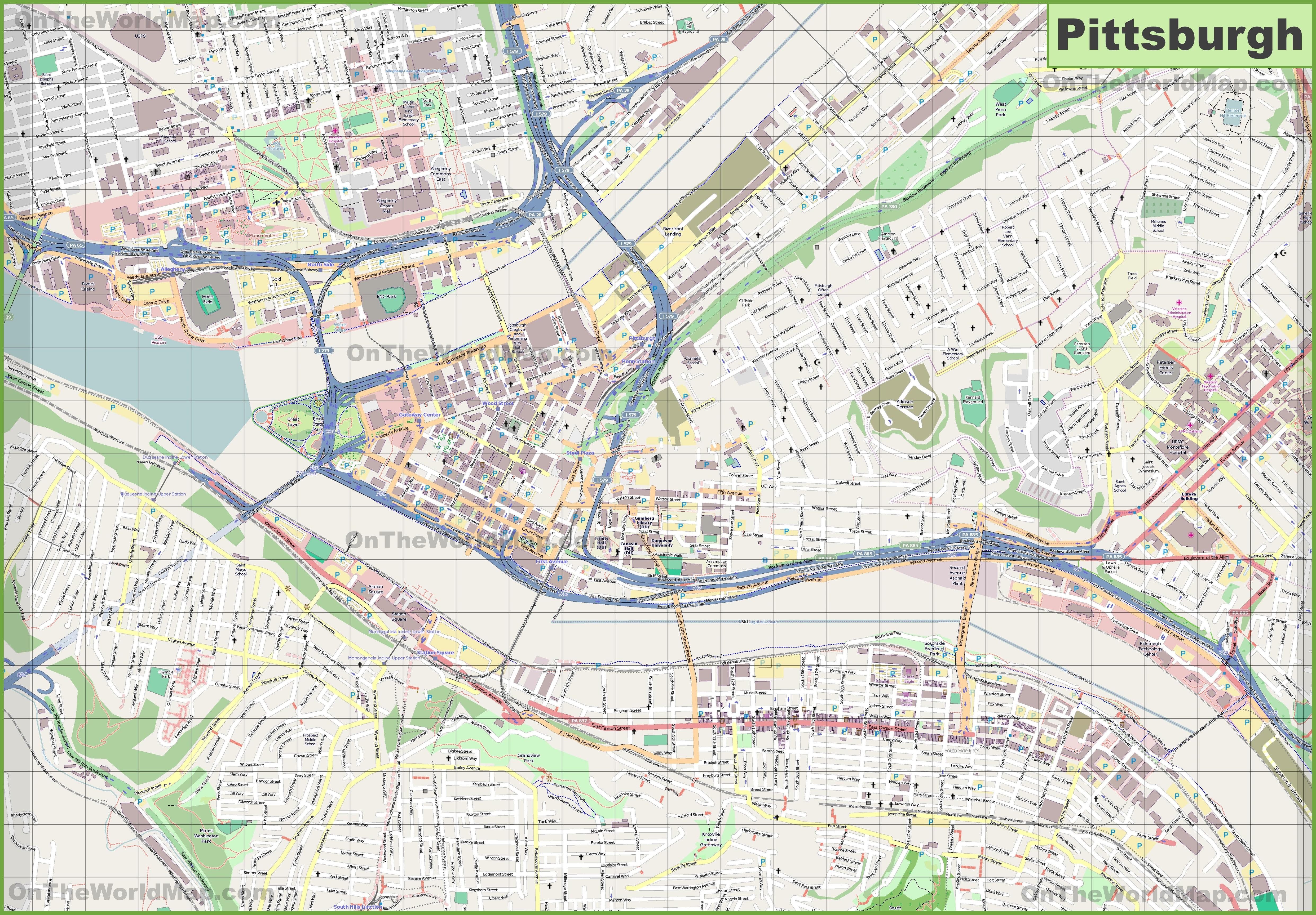 Map Of Pittsburgh Large detailed map of Pittsburgh Map Of Pittsburgh
