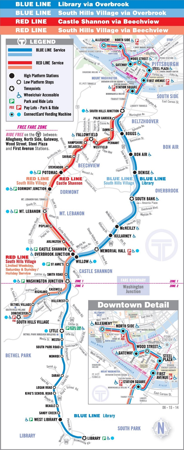 Pittsburgh light rail map