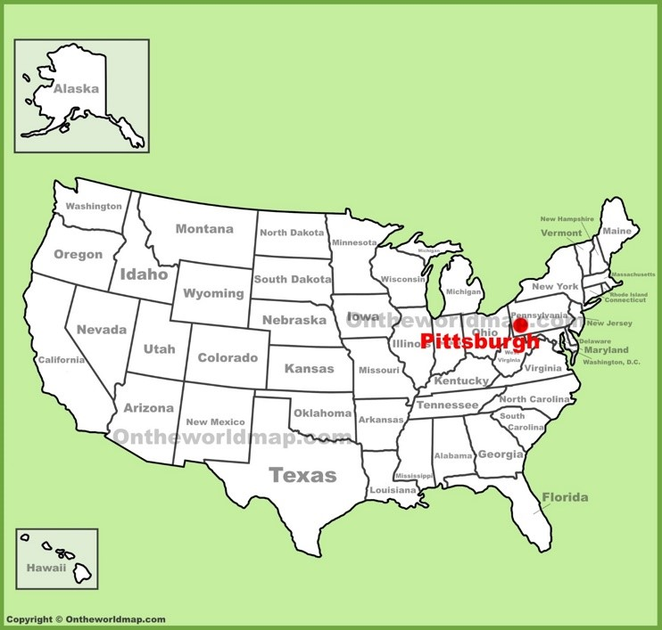 Pittsburgh location on the U.S. Map