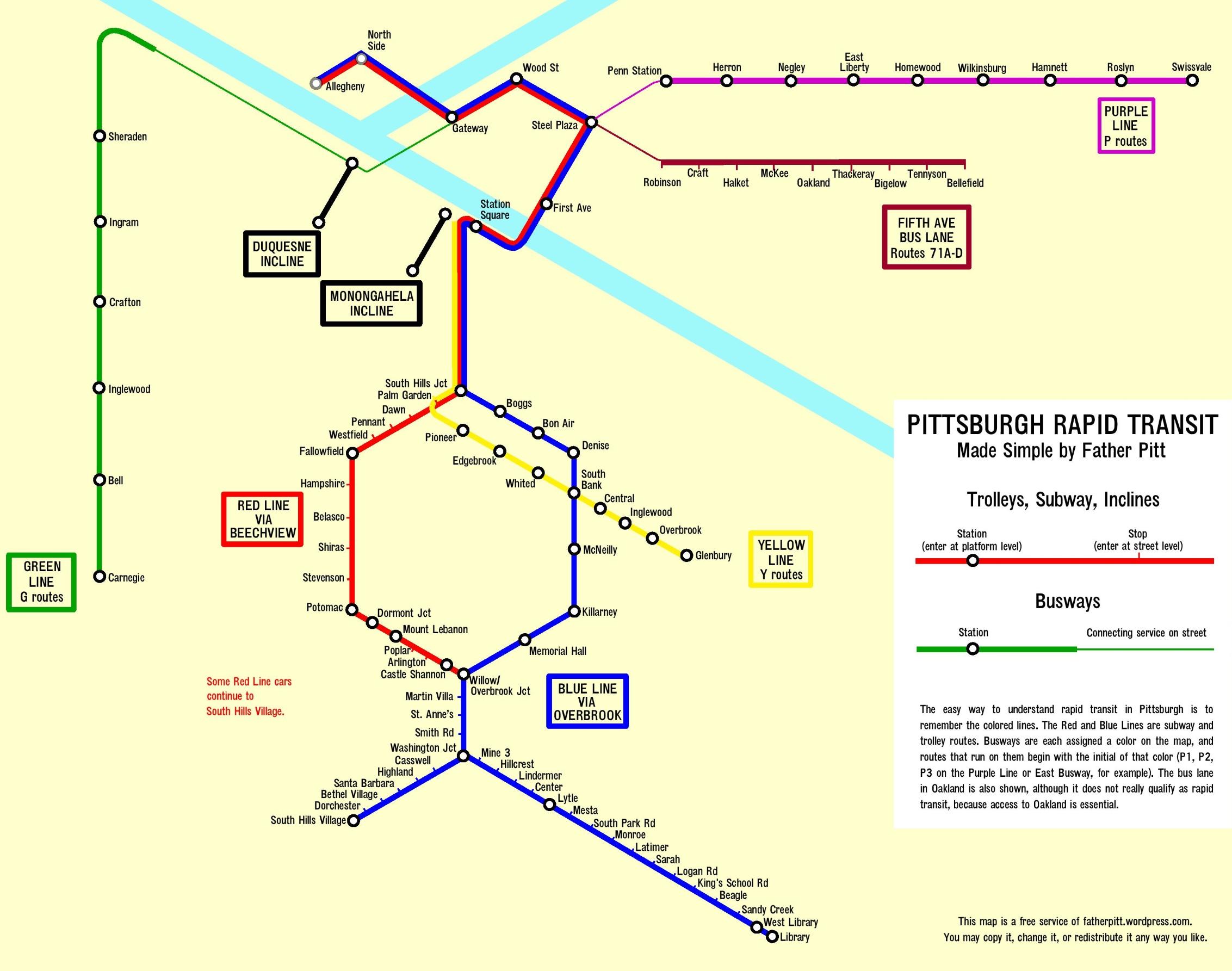 Pittaburgh Subway Map.Pittsburgh Rapid Transit Map