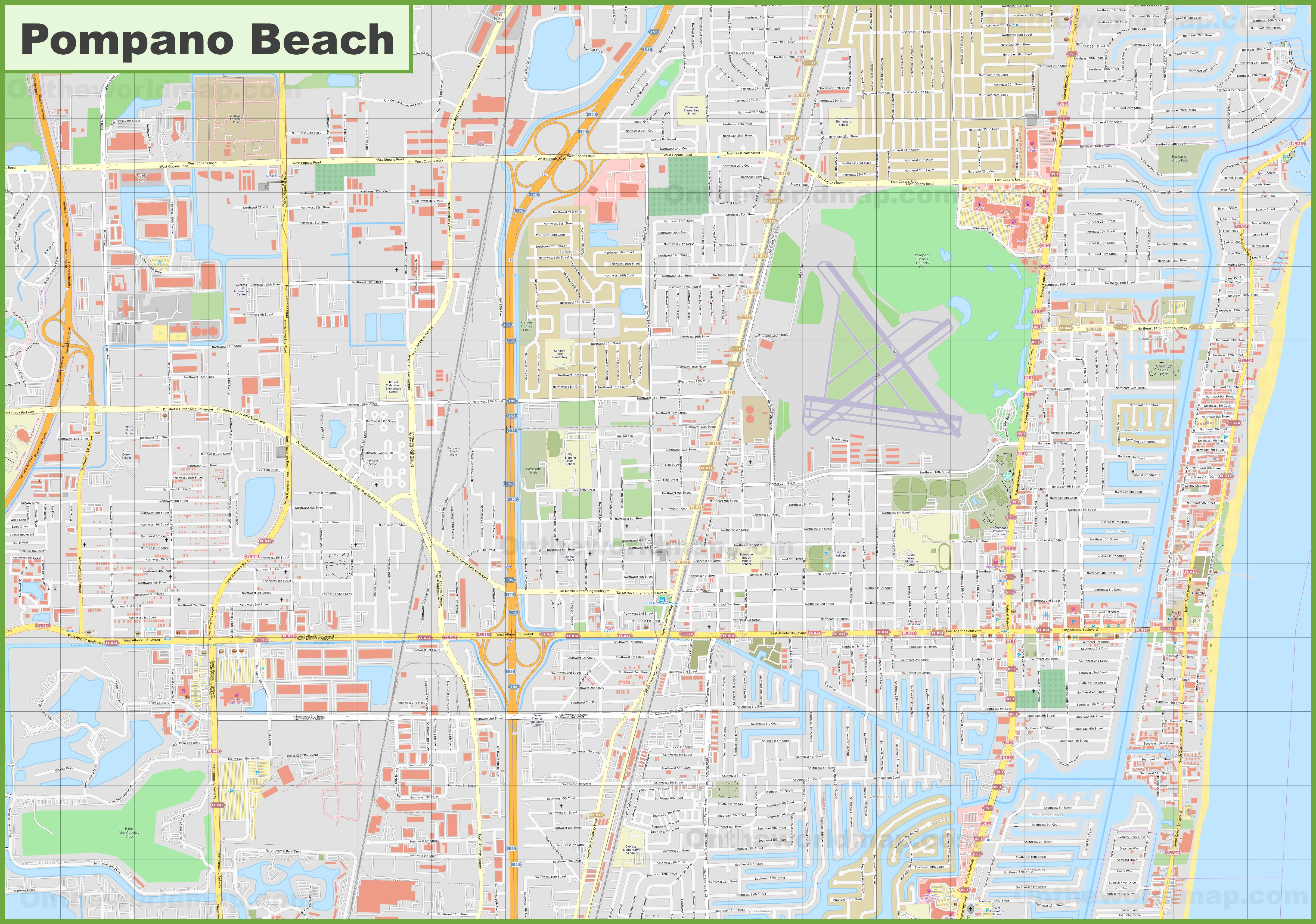 Map Of Pompano Beach Florida Large detailed map of Pompano Beach