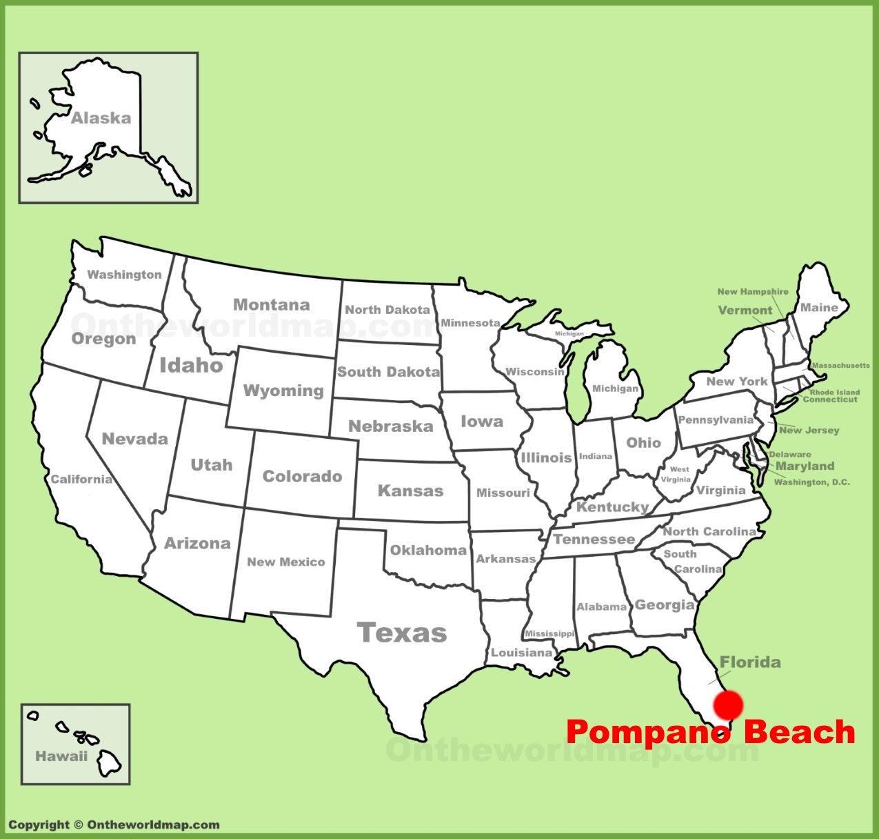 Pompano Beach Map Of Florida.Pompano Beach Location On The U S Map