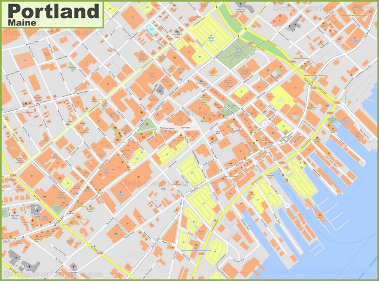 Portland (Maine) downtown map