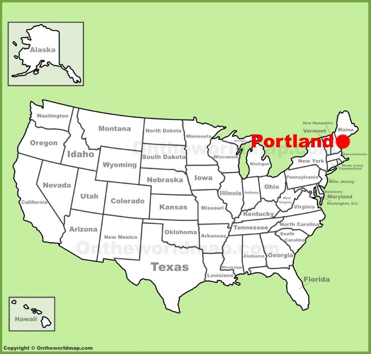 Portland (Maine) location on the U.S. Map