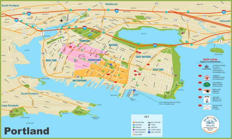 Portland (Maine) tourist map