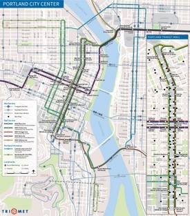 Portland city center transport map