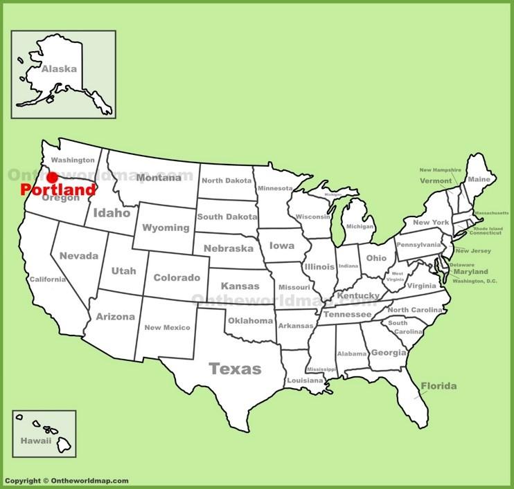 Portland location on the U.S. Map