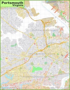 Large detailed map of Portsmouth