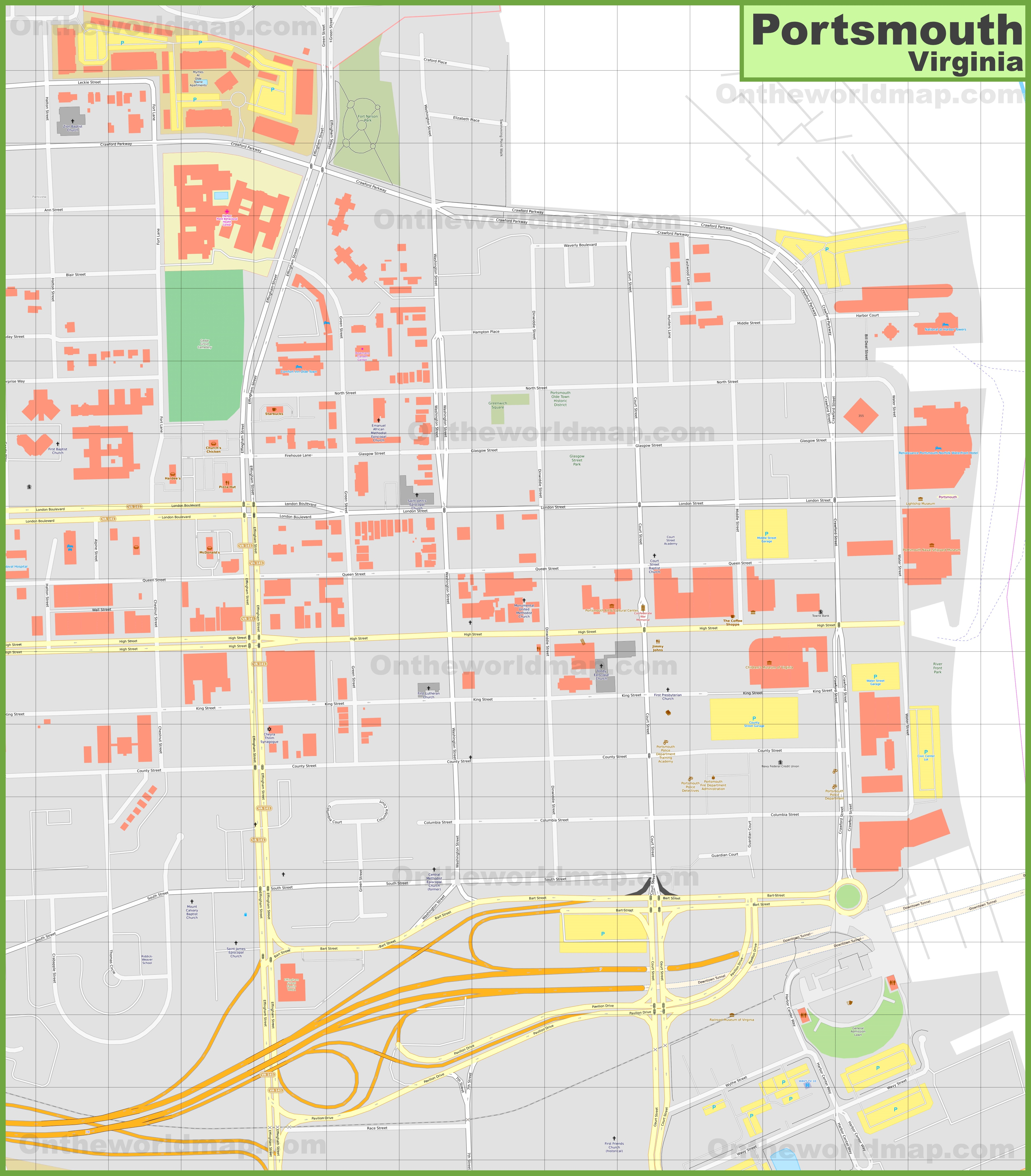 Portsmouth downtown map