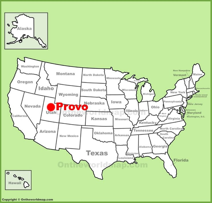 Provo location on the U.S. Map