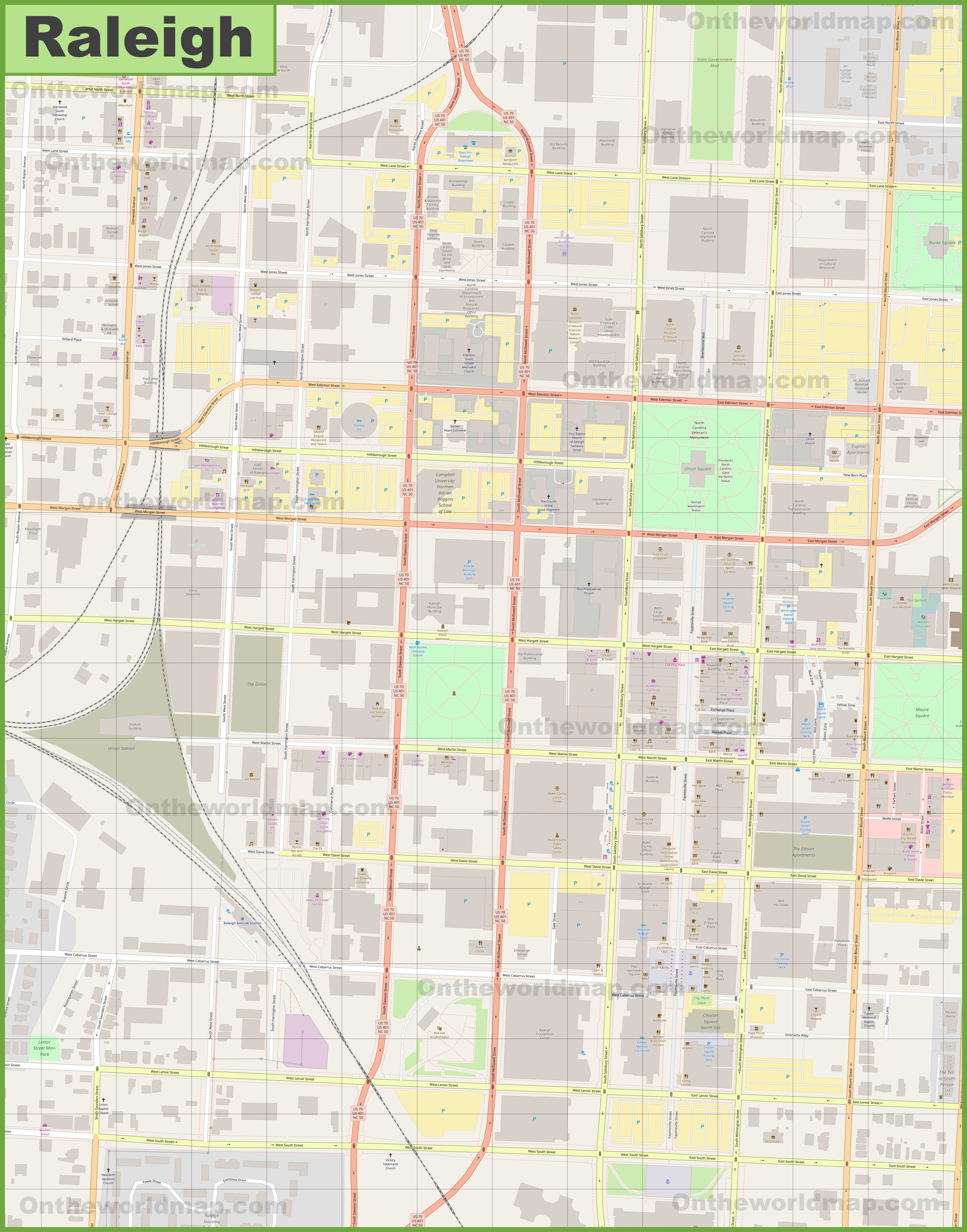 Raleigh downtown map