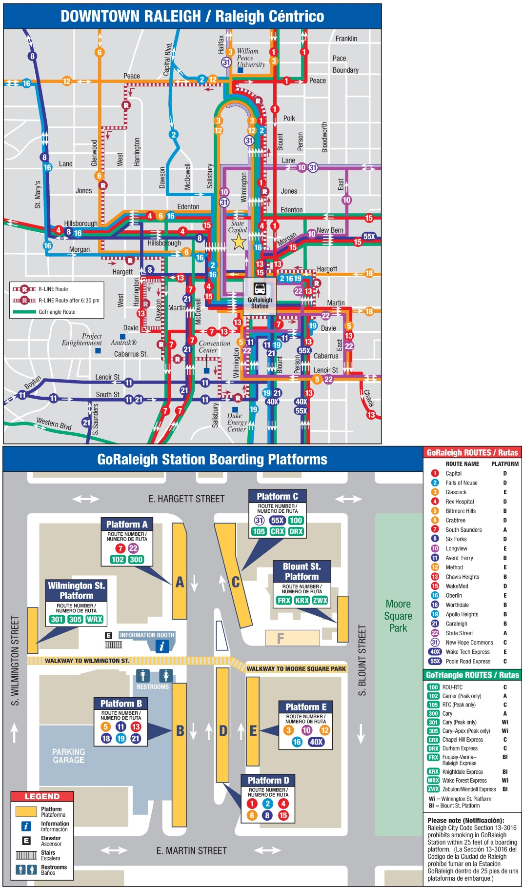 Raleigh downtown transport map