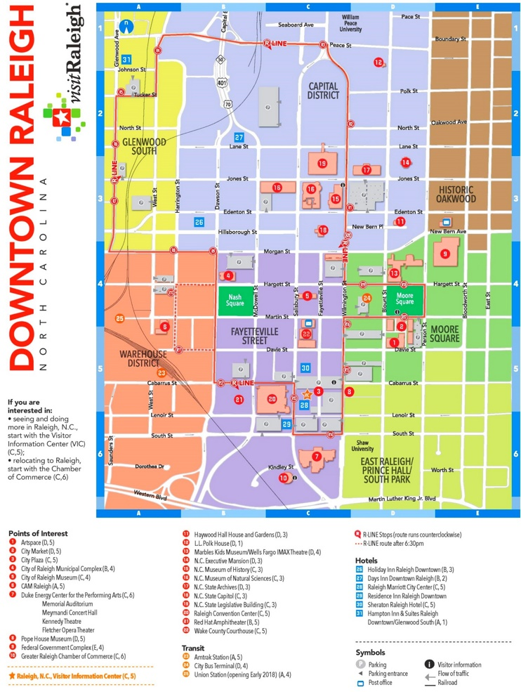 Raleigh hotels and sightseeings map