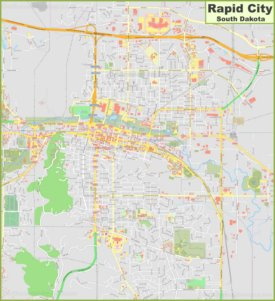 Large detailed map of Rapid City