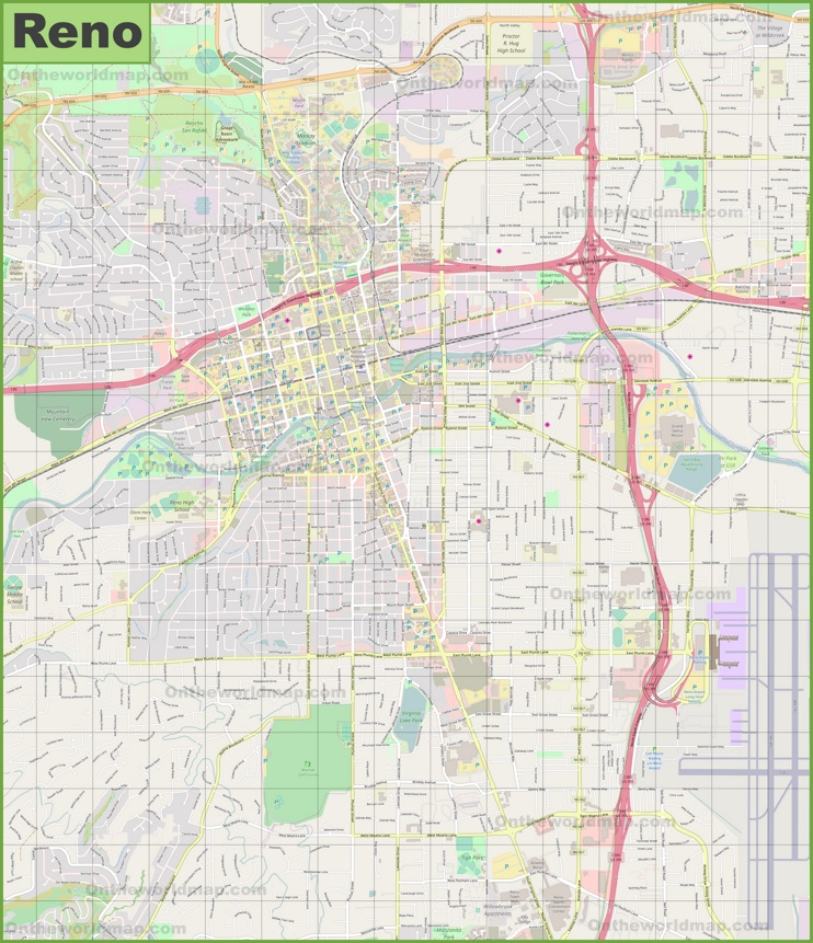 Large detailed map of Reno