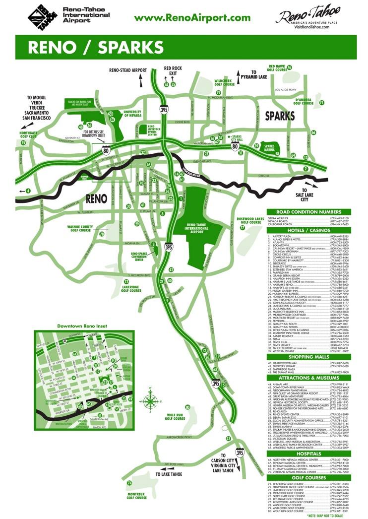 Reno hotels and casinos map
