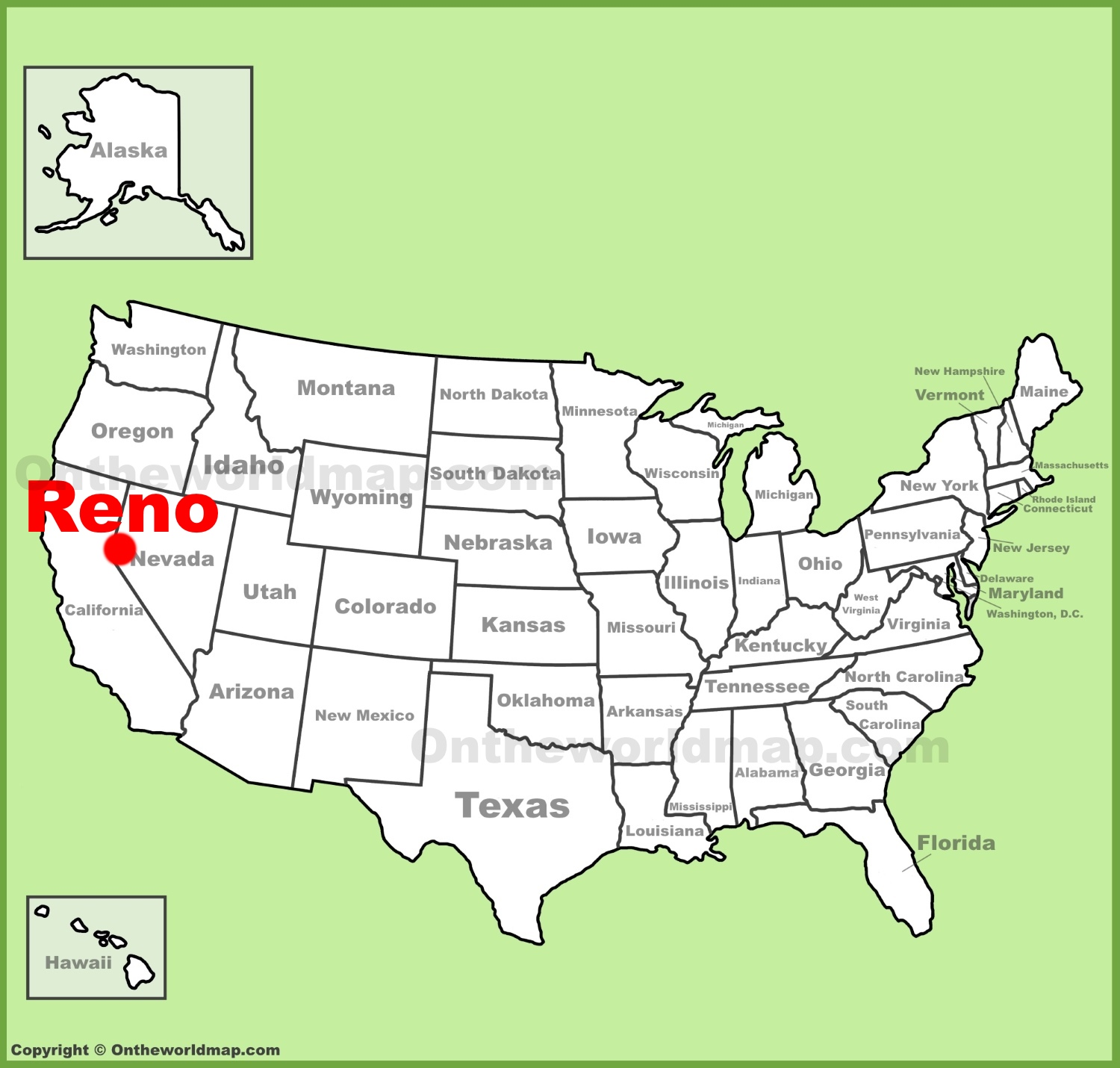 Reno location on the US Map