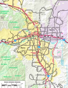 Reno - Sparks Region road map