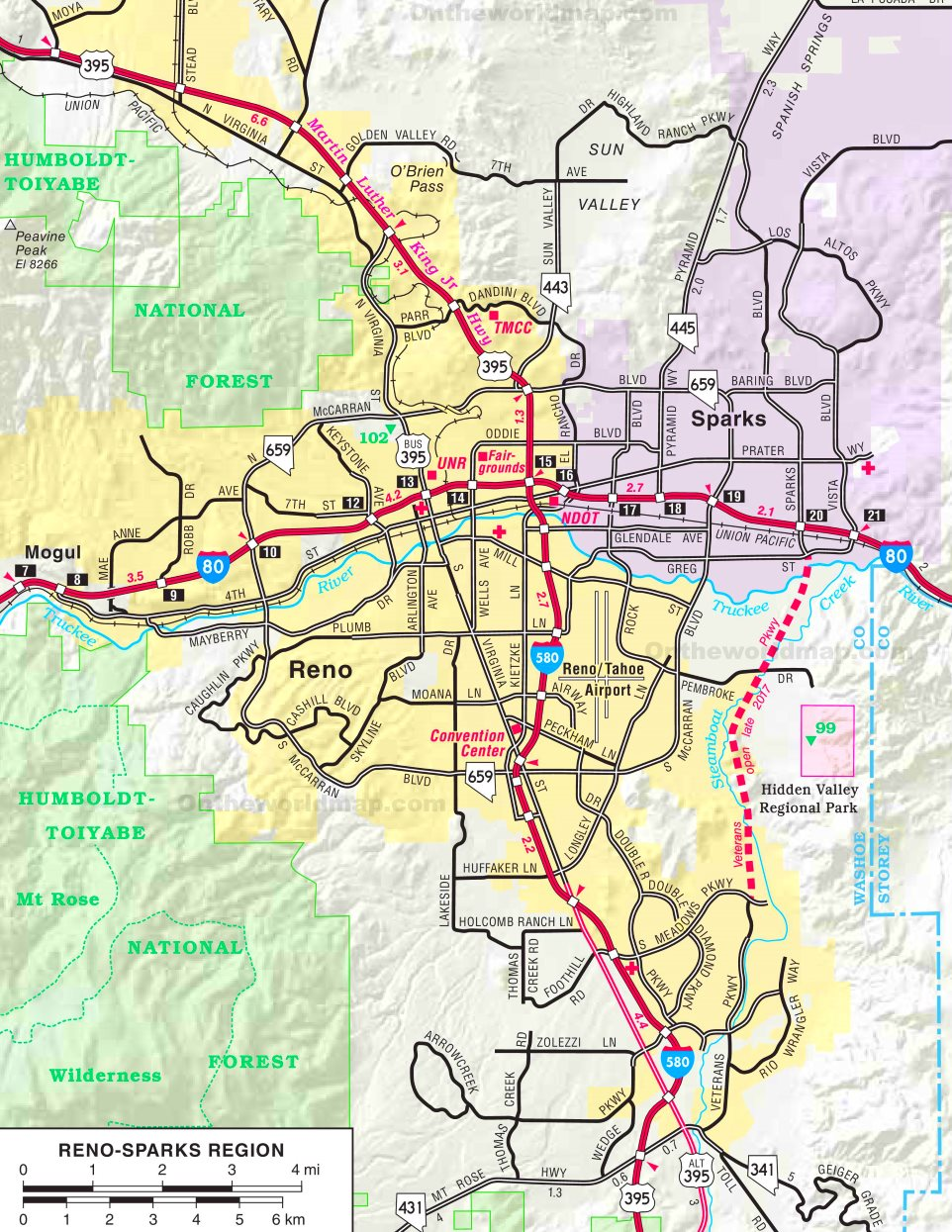 Reno - Sparks Region road map In Reno With Map on