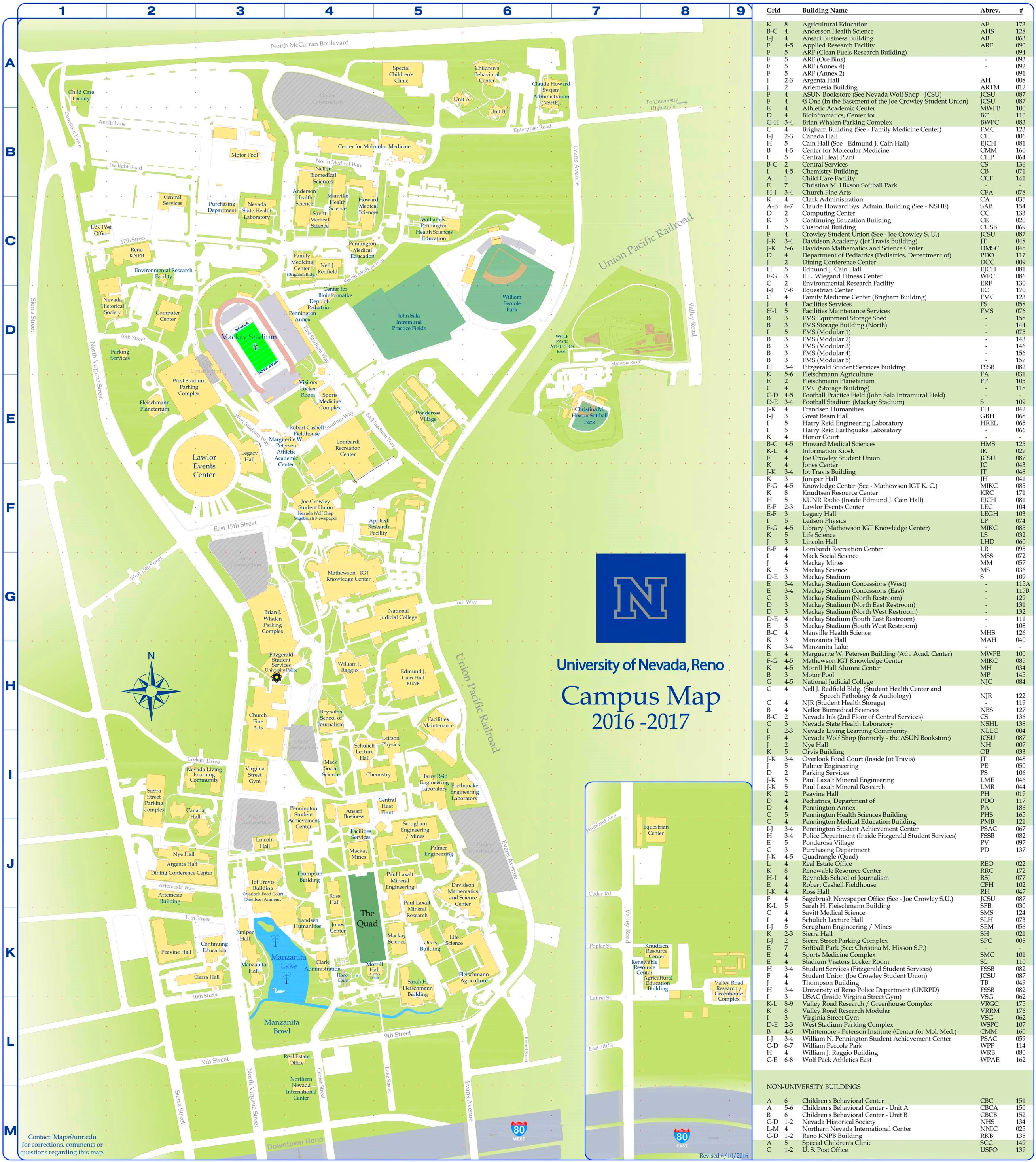 University Of Nevada Reno Campus Map