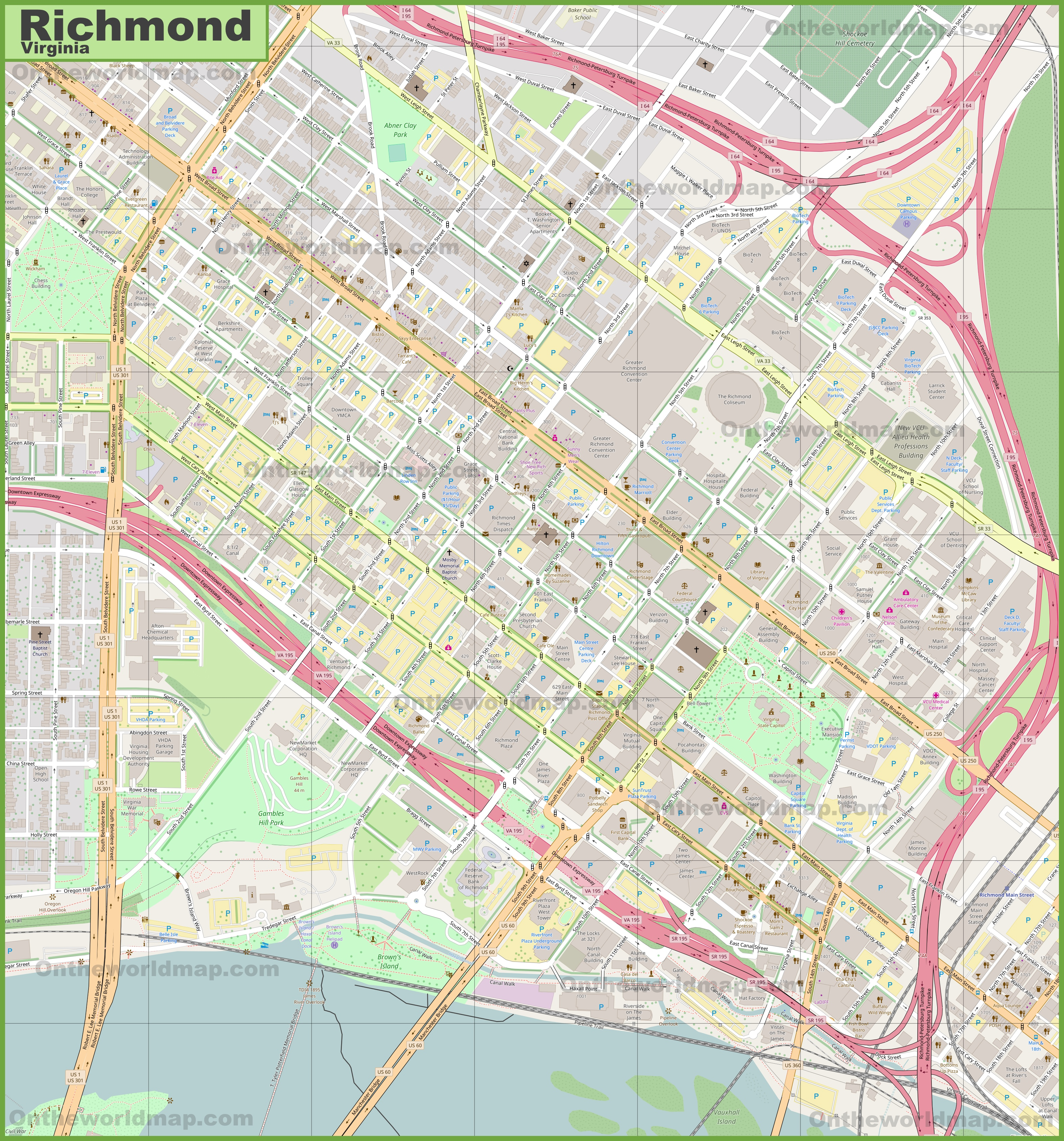 Large detailed map of Richmond