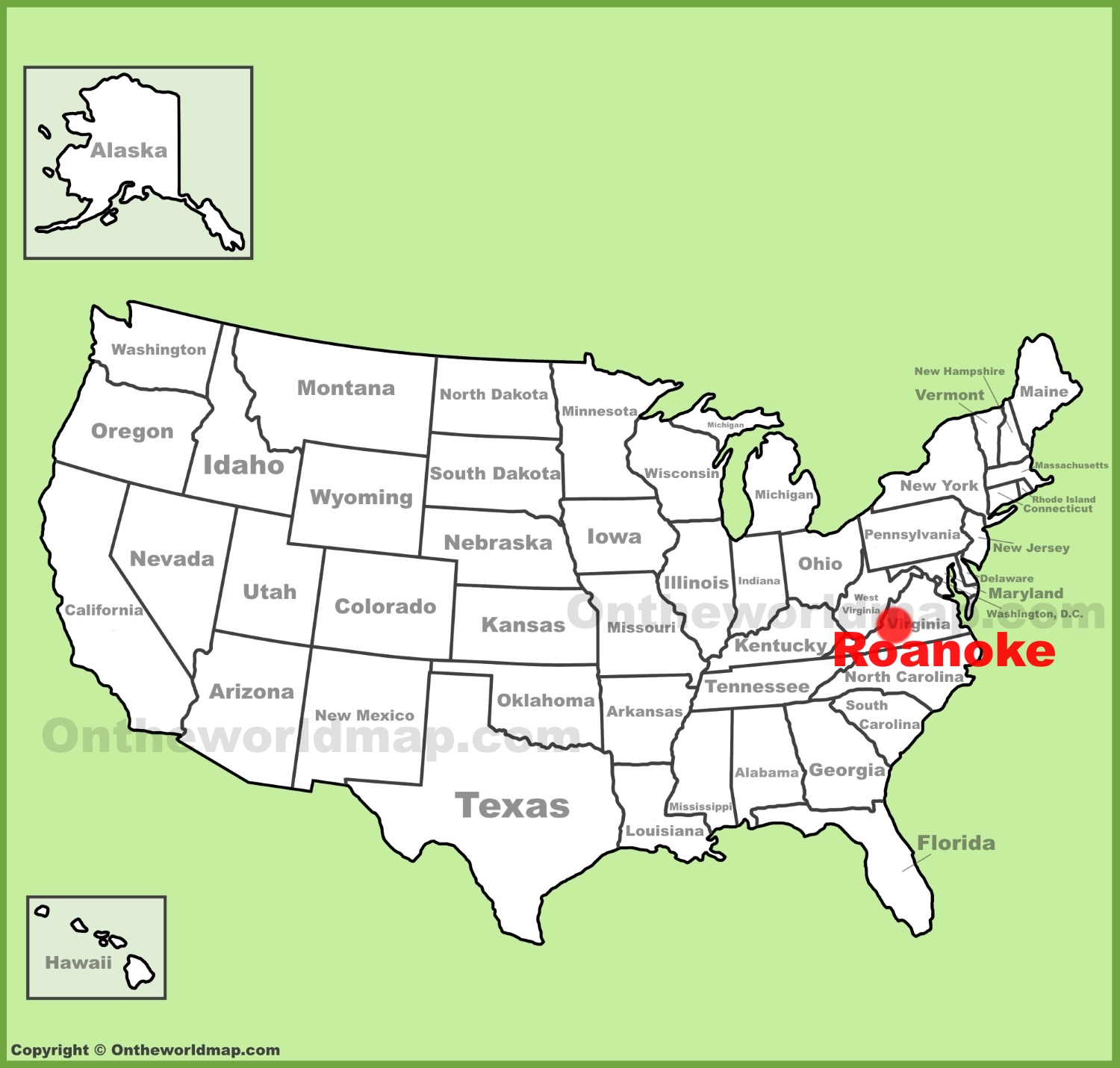 Roanoke location on the US Map