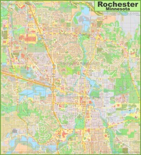 Large detailed map of Rochester (Minnesota)