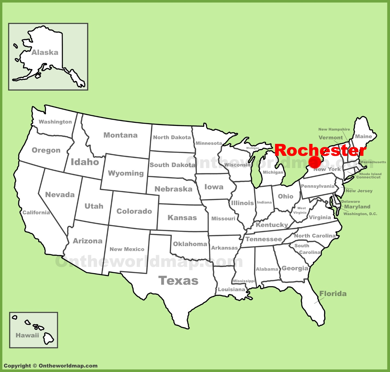 Rochester location on the U.S. Map