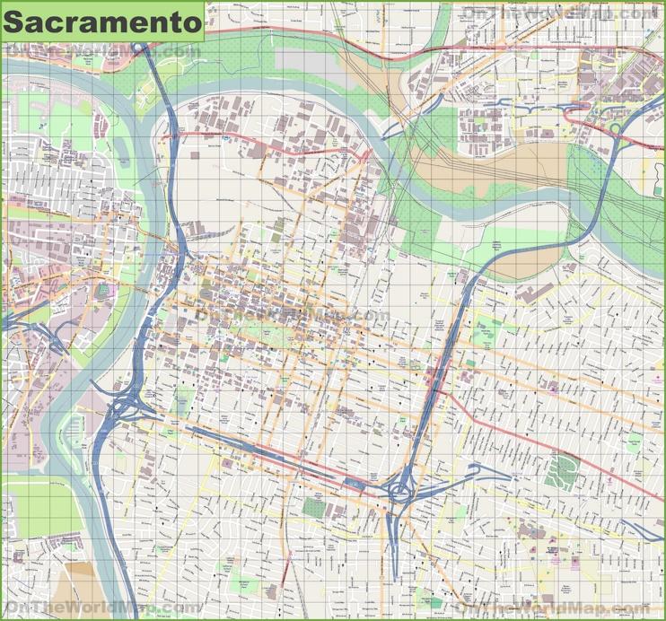 Large detailed map of Sacramento