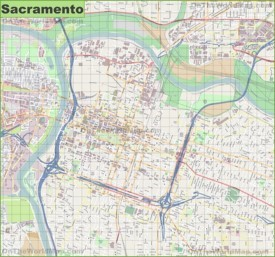 Large detailed map of Sacramento