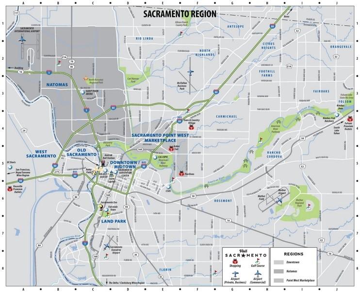 Sacramento region map