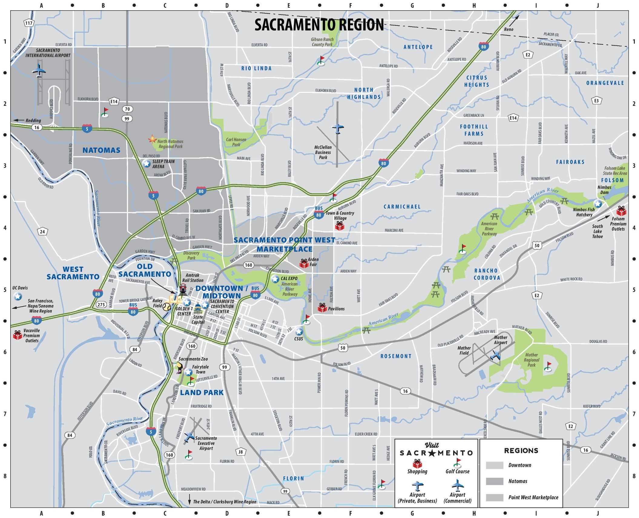Sacramento region map