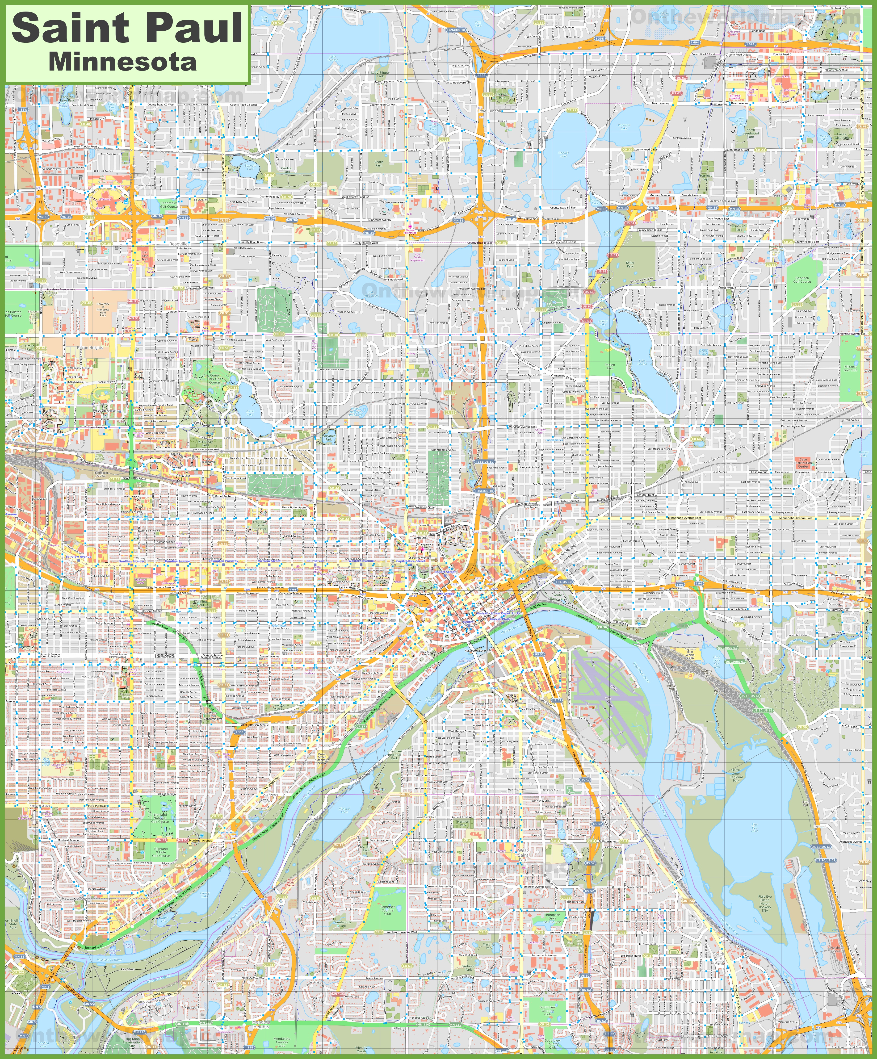 Large detailed map of Saint Paul