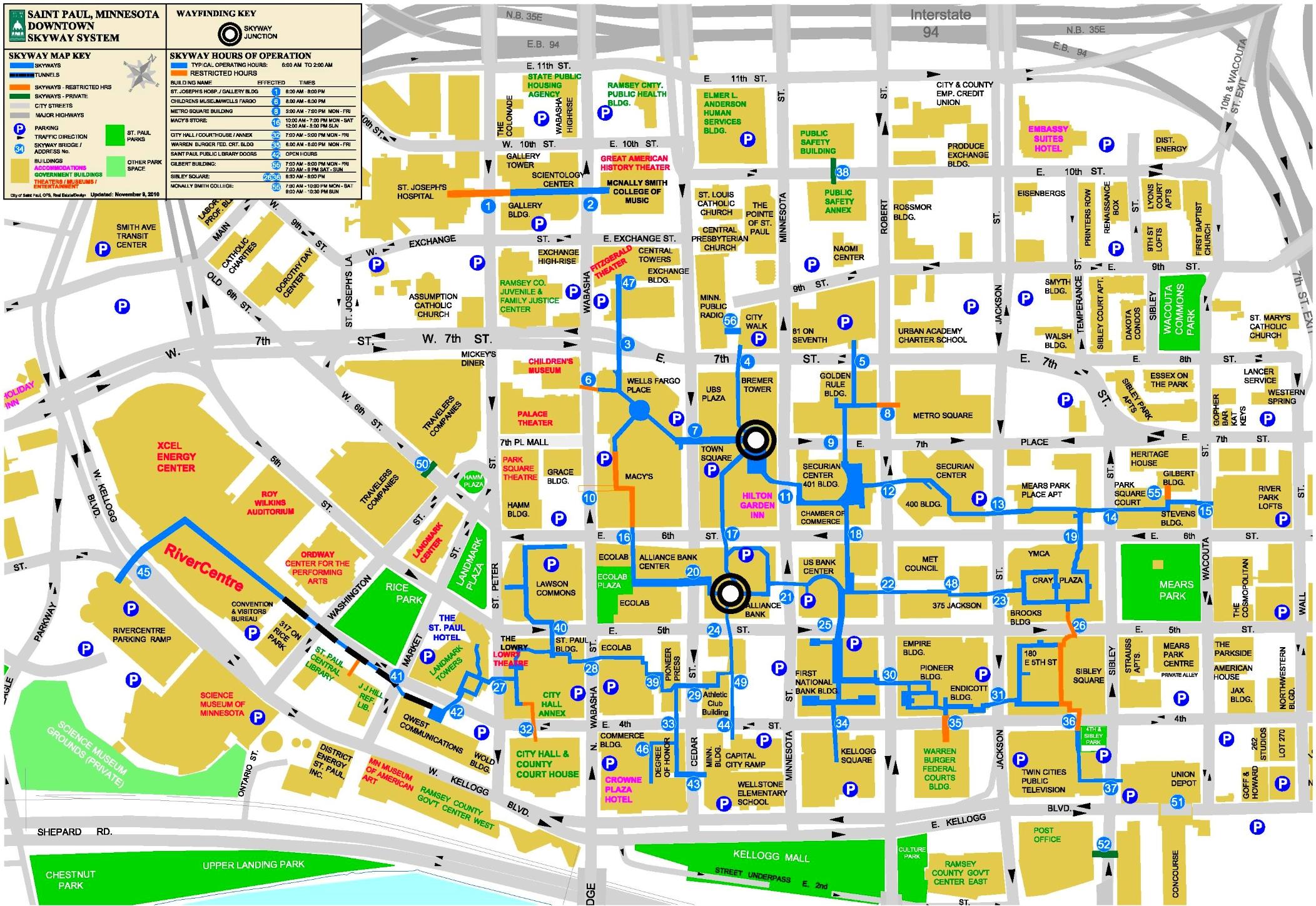 Saint Paul skyway map