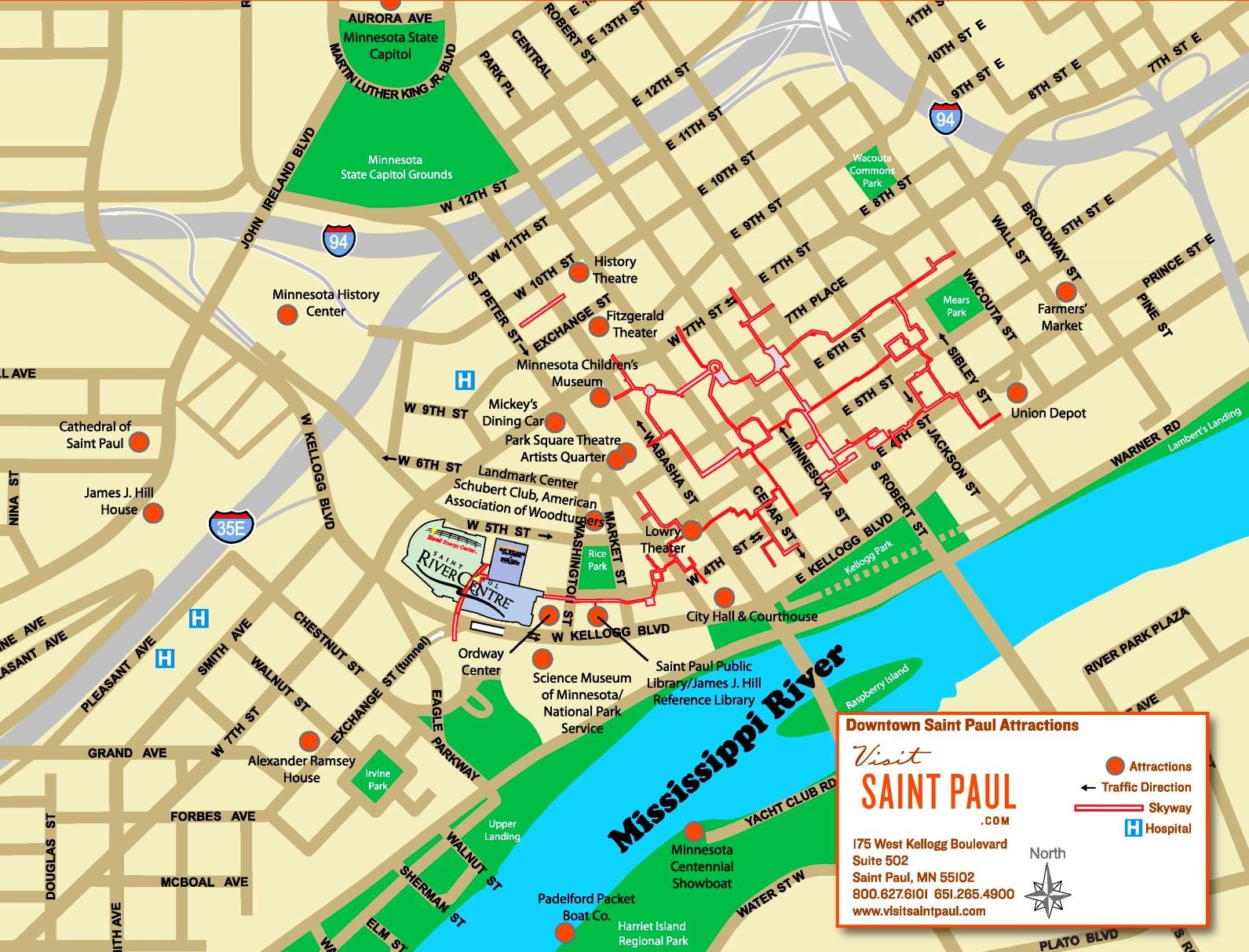 Saint Paul tourist attractions map