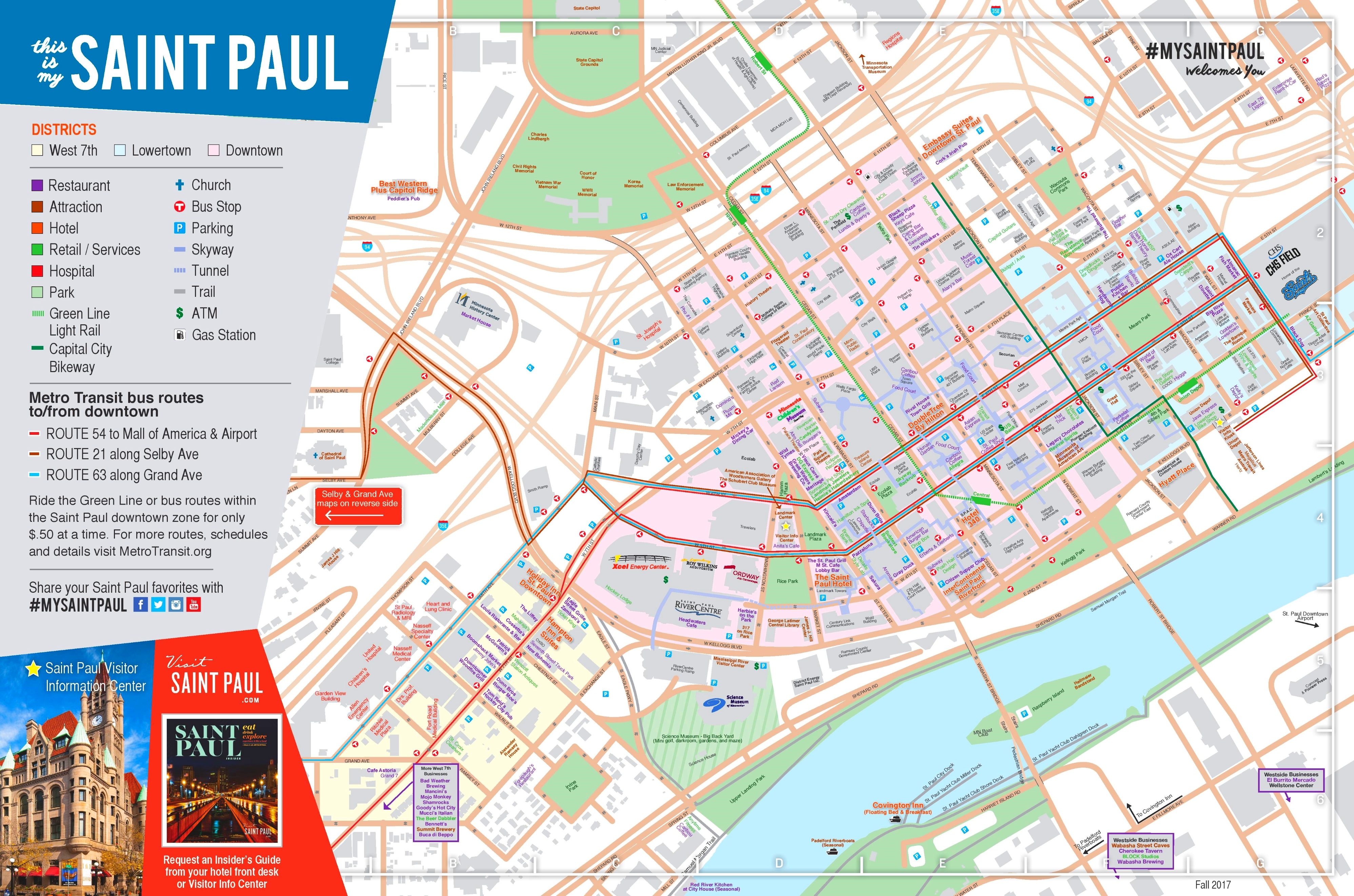 Saint Paul tourist map